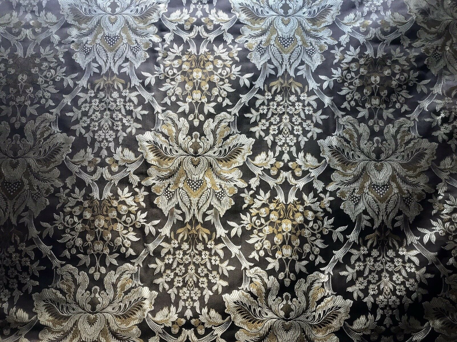 NEW 100% Silk Taffeta Dupioni Floral Brocade Damask Fabric -Brown