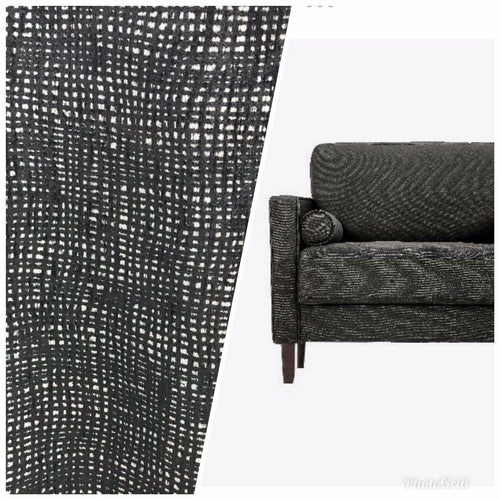 NEW Designer Upholstery Nubby Tweed Chenille Gingham Fabric- Black White