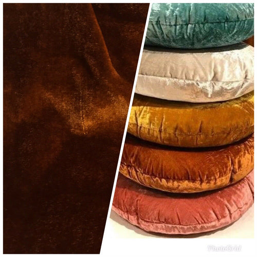 "NEW Designer Silk Rayon Velvet Fabric- Rust Brown- BTY 54"" Wide"