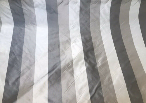 NEW! 100% Silk Taffeta Striped Stripes Drapery Fabric -Grey BTY