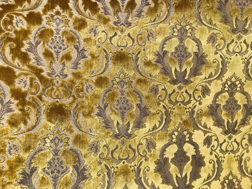 NEW Novelty Designer Italian Burnout Damask Velvet Fabric - Upholstery- BTY Gold