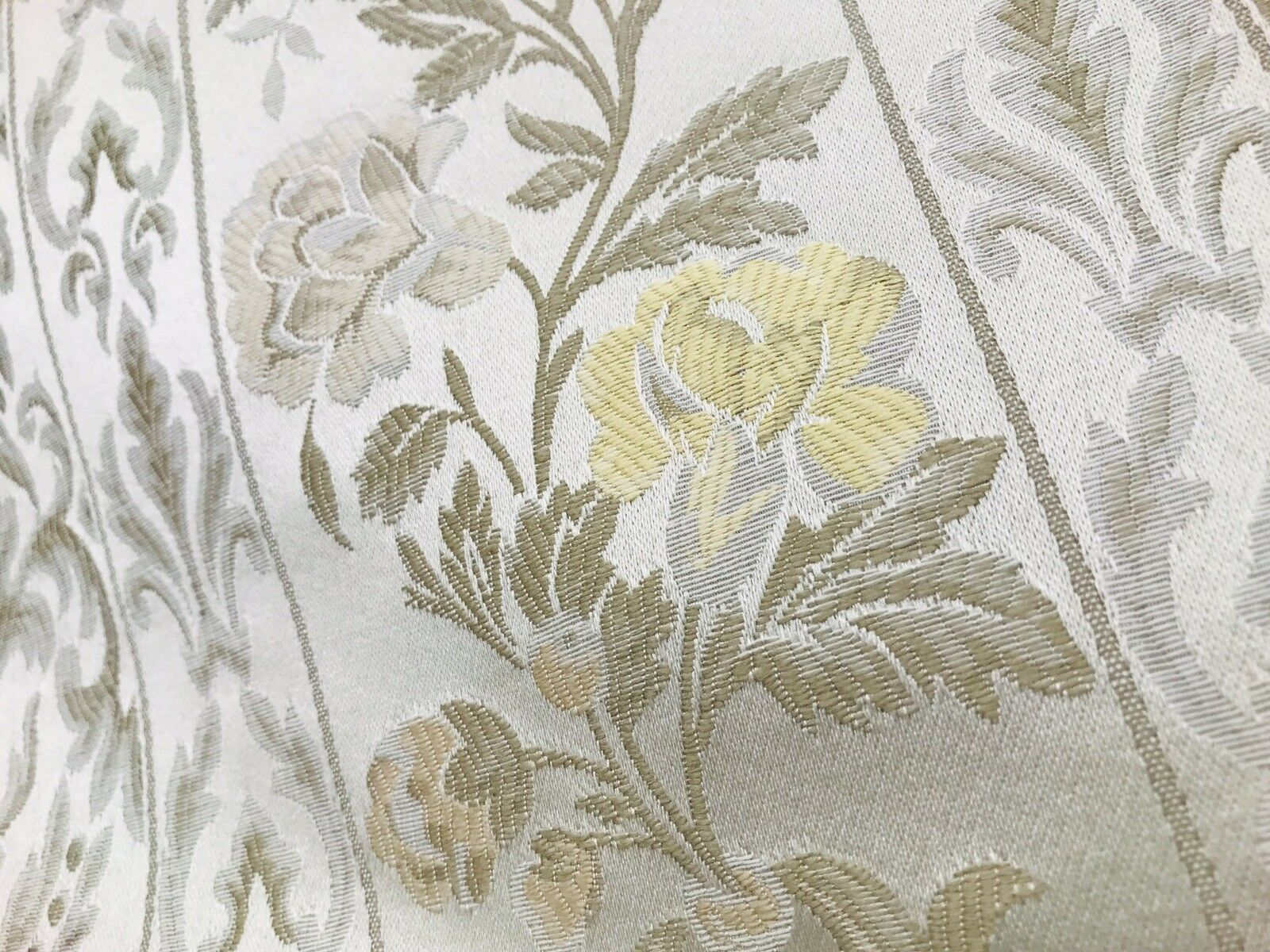 SWATCH Italian Brocade Satin Fabric- Ivory- Floral Upholstery Neoclassical Louis