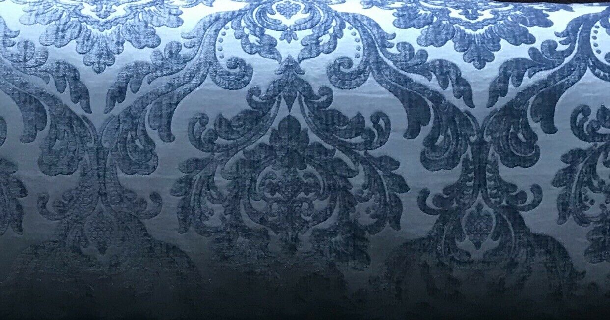 Queen Isabella Designer Damask Burnout Chenille Velvet Fabric - Jewel Blue BTY