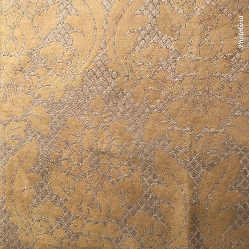 SWATCH Quilted Burnout Chenille Velvet Fabric- Taupe And Gold- Upholstery