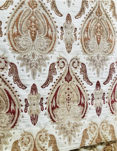 NEW! Brocade Damask French Upholstery Fabric Red Orange & Yellow/Ivory LLPBR0003