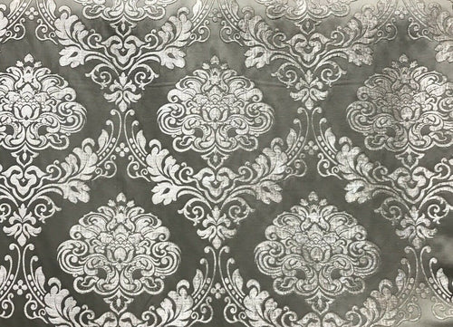 SWATCH Designer Satin Burnout Chenille Velvet Fabric - Gray Upholstery Damask