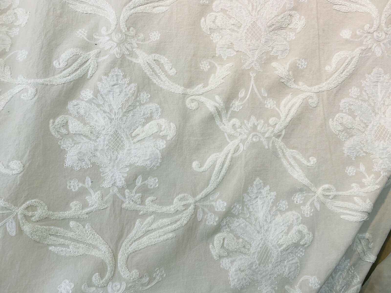 NEW! Novelty 100% Silk Fabric With Crewel Floral Embroidery- Ecru & White