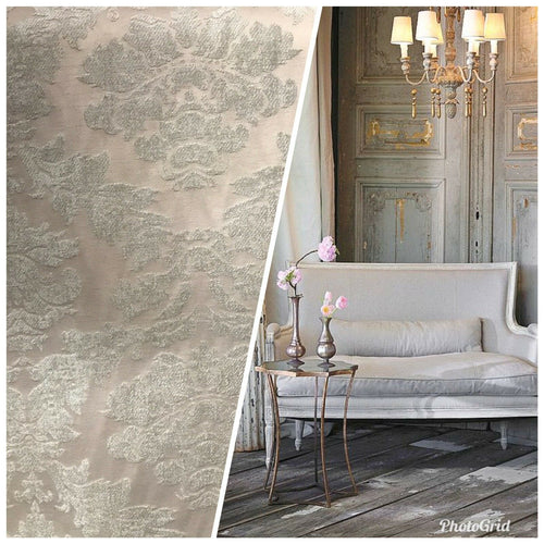 Damask Burnout Chenille Velvet Fabric - Brocade- Silver-Gray Beige-Pink