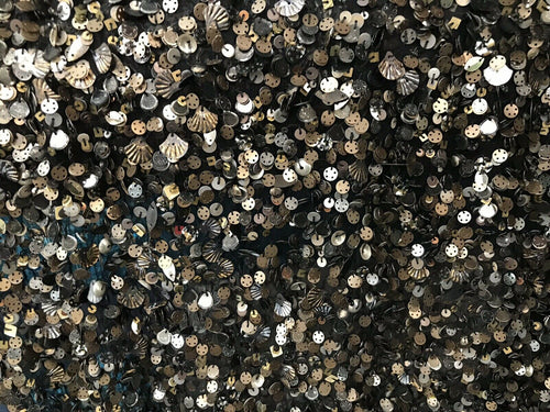 NEW Novelty Couture 100% Silk Chiffon Beaded & Sequin Runway Fabric- By The Yard