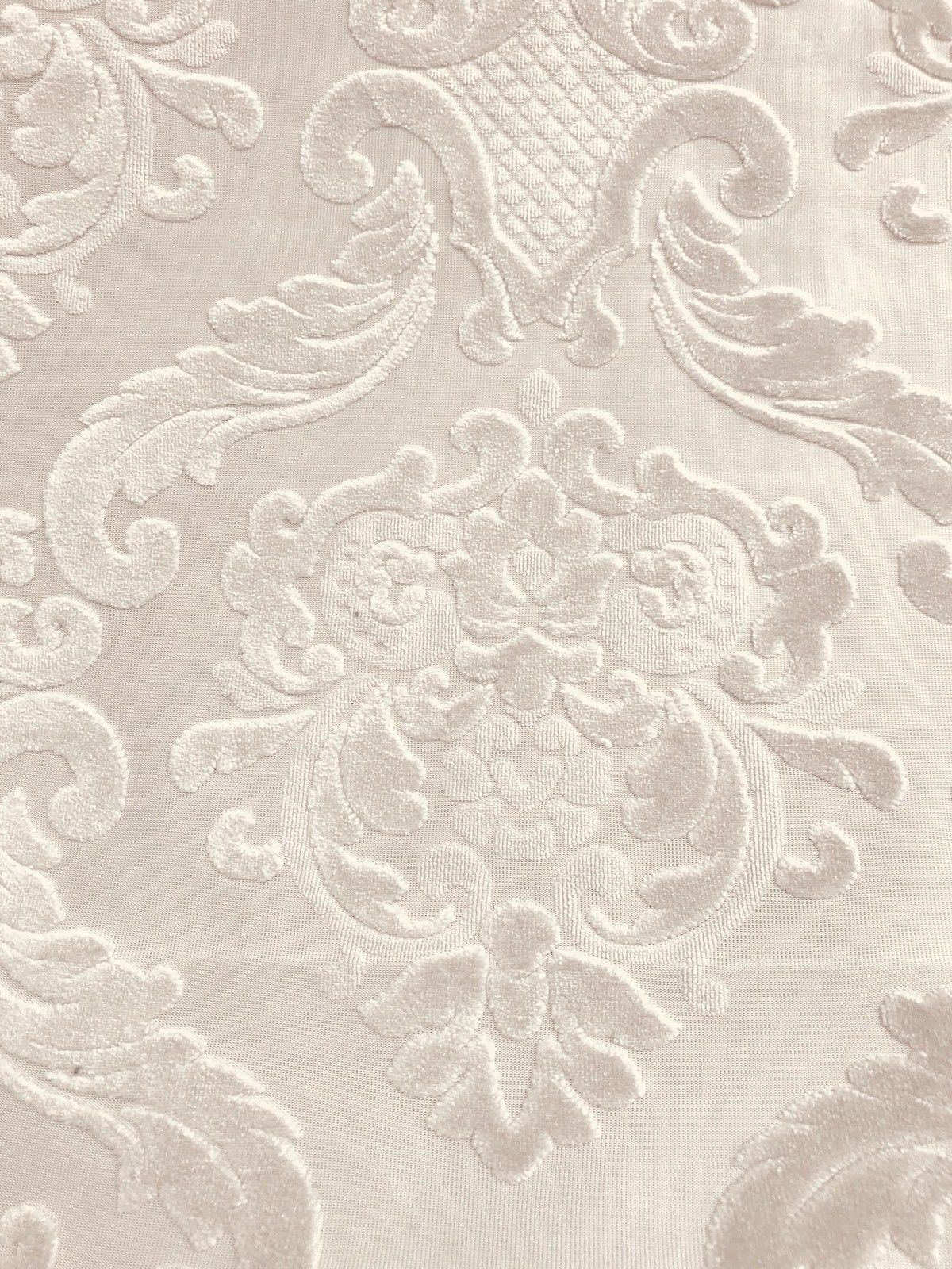 SWATCH Cut Out Chenille Velvet Fabric- Upholstery- Burnout- Eggshell - Fancy Styles Fabric Boutique