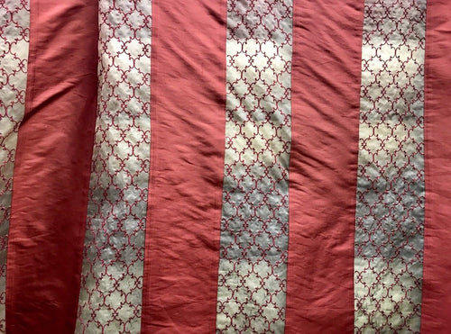 SALE! 100% Silk Taffeta Striped Drapery Fabric - Brick Red & Clear - Embroidered - Fancy Styles Fabric Boutique