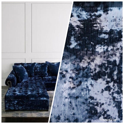SWATCH- Designer Made In Belgium Crushed Velvet Upholstery Fabric - Navy Blue - Fancy Styles Fabric Boutique