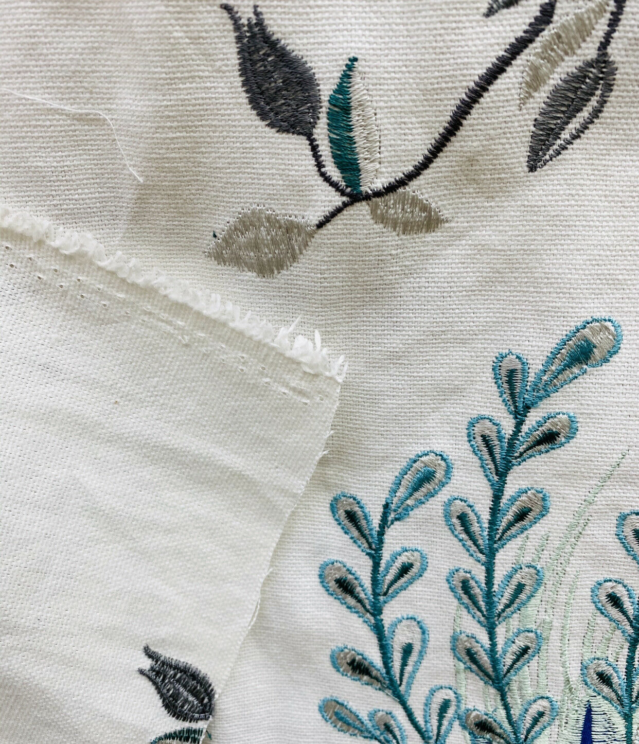 NEW! Designer Floral & Bird Motif Drapery Upholstery Fabric- French Blue