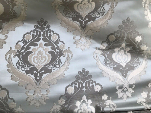 NEW! SALE! Designer Brocade Satin Fabric- Blue- Upholstery Damask Drapery