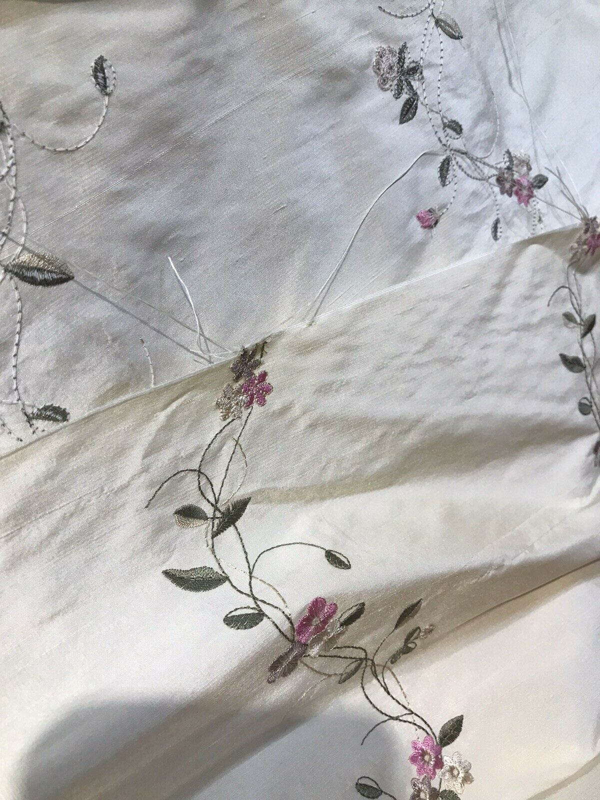 NEW! 100% Silk Dupioni Embroidery Floral Fabric- Light Beige & Pink
