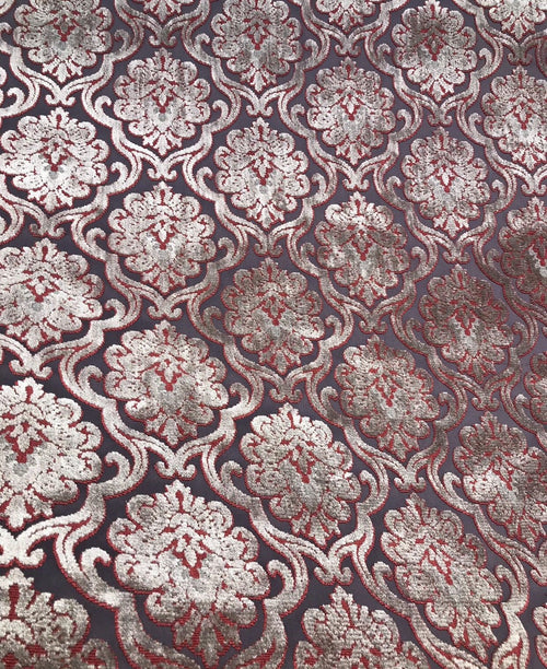 NEW Novelty Made In Italy Burnout Chenille Velvet Fabric Silver-Pink Upholstery - Fancy Styles Fabric Boutique