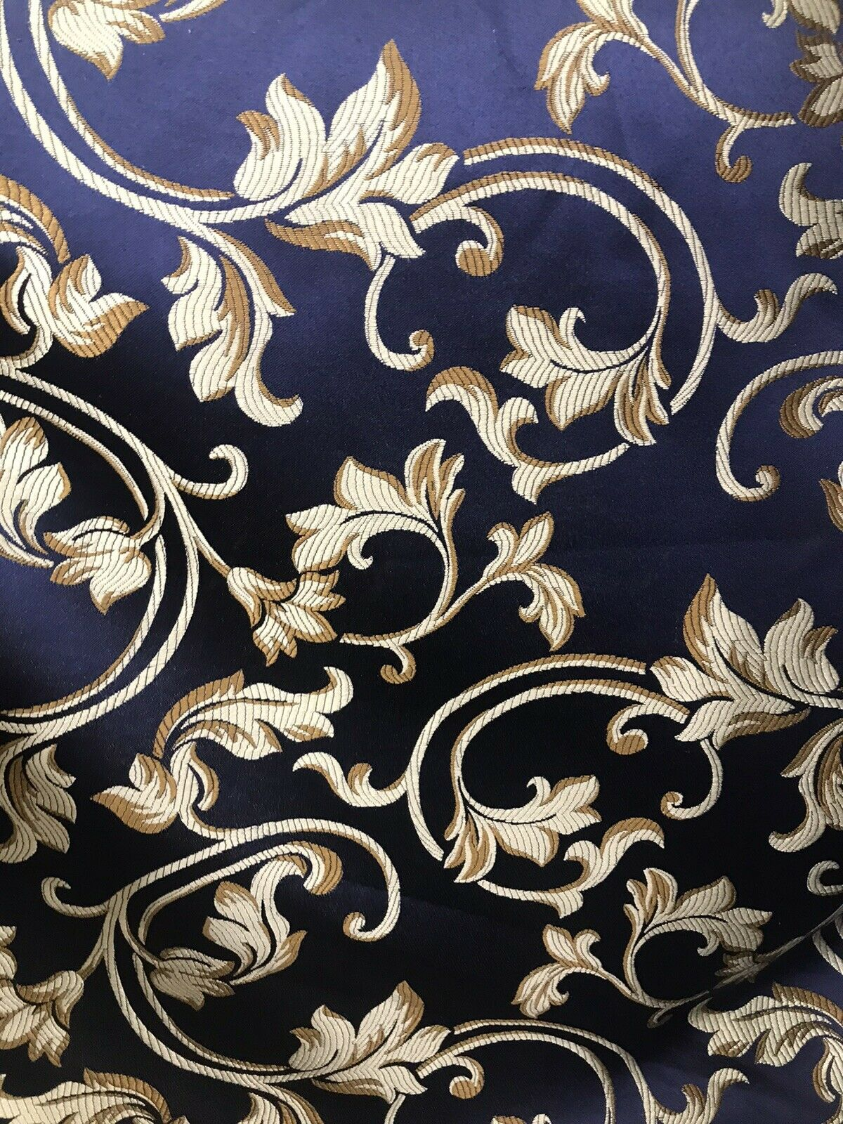 SALE Prince Gaspard Neoclassical Brocade Satin Damask Upholstery Fabric- Louis Blue Navy