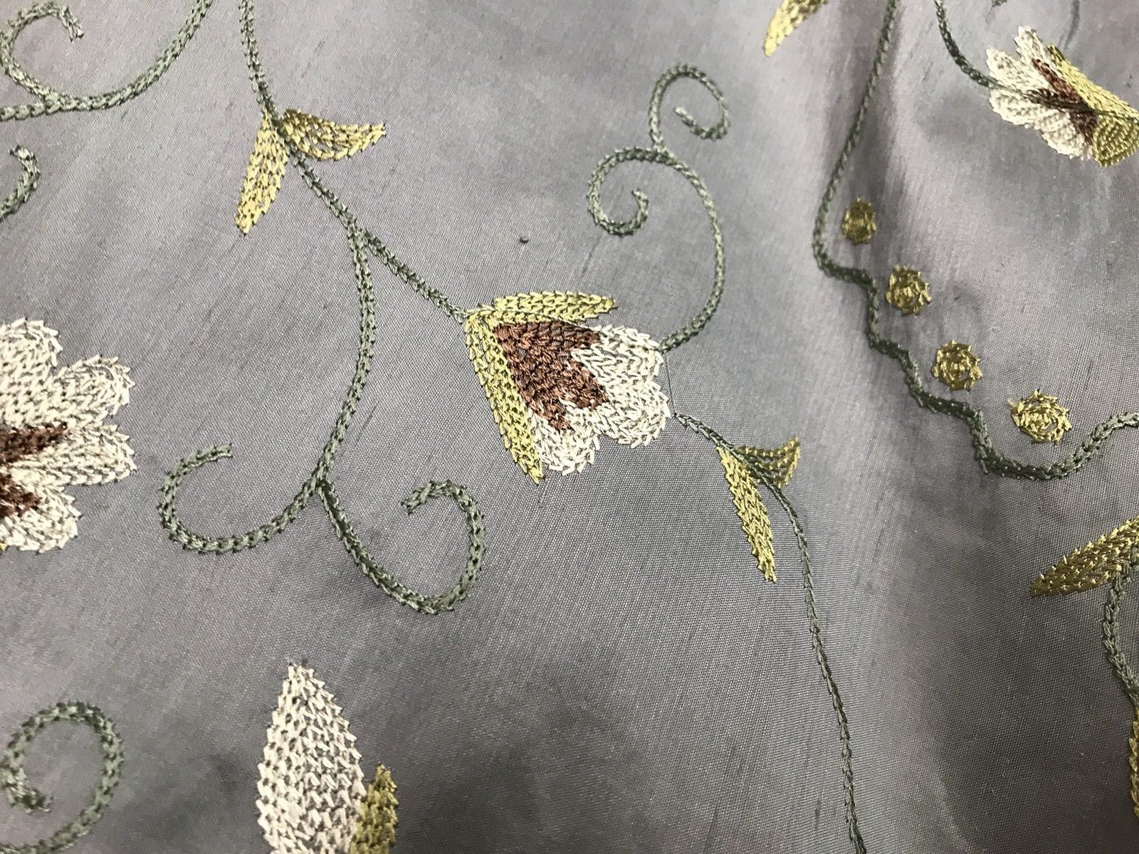SALE! Designer 100% Silk Taffeta Embroidered Fabric - French Antique Blue - Fancy Styles Fabric Boutique