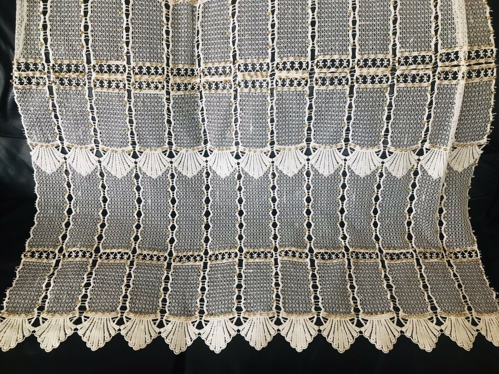 Novelty Gold Studded Beads Scalloped Edge Lace Crochet Fabric- By The Yard White