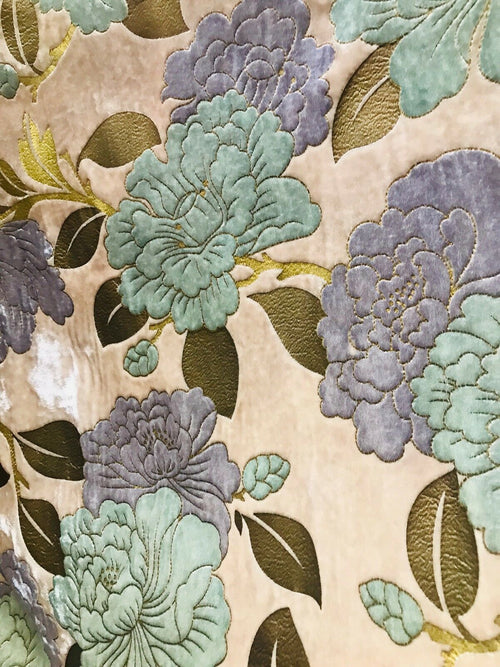 Designer Floral Silk Rayon Velvet Fabric- Pink Blue Gold Lavender BTY - Fancy Styles Fabric Pierre Frey Lee Jofa