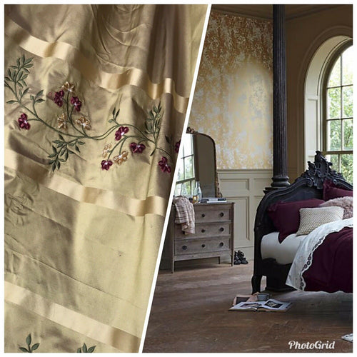 NEW Designer 100% Silk Taffeta Dupioni Embroidery Floral Fabric -Gold