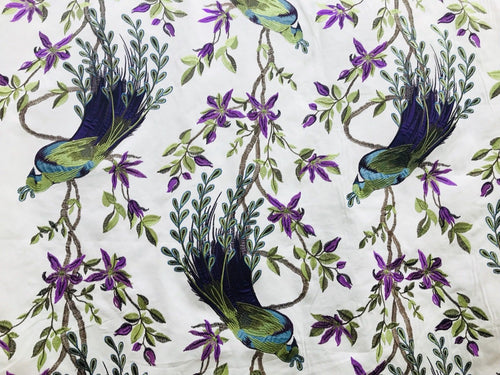 NEW! Designer Cotton Embroidered Peacock Drapery Fabric  - Green Blue White - Fancy Styles Fabric Boutique