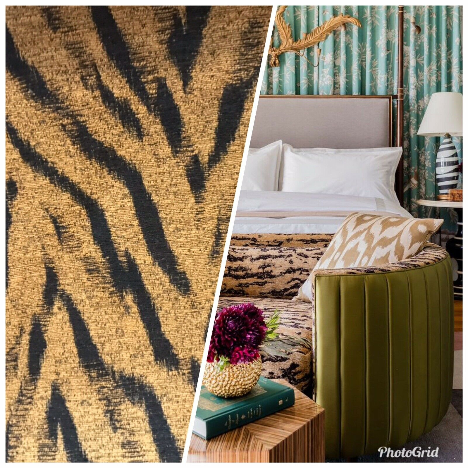 NEW Designer Upholstery Heavyweight Tiger Animal Print Chenille Fabric- BTY