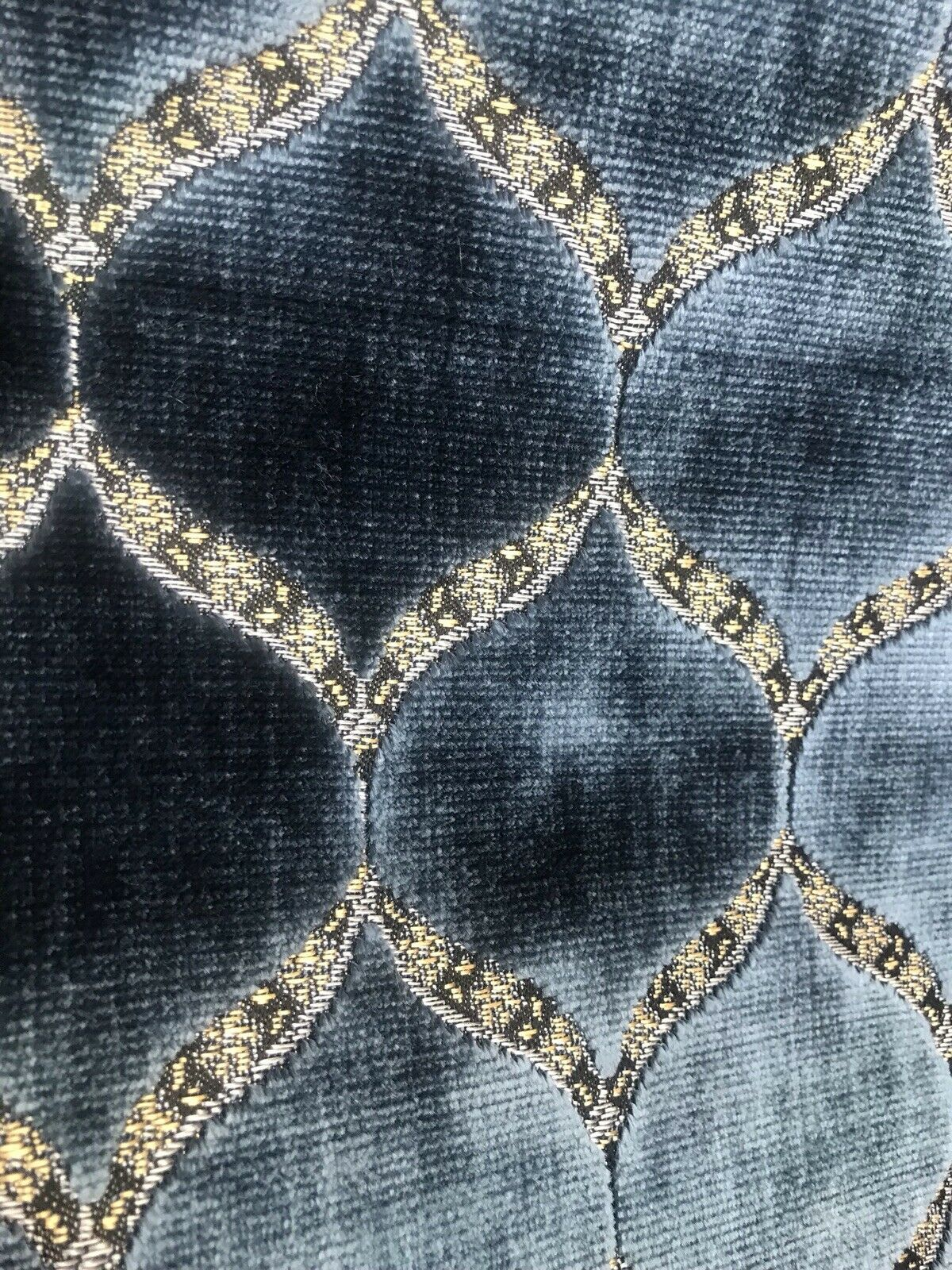 Novelty Designer Italian Burnout Geometric Velvet Fabric - Upholstery- Blue G7