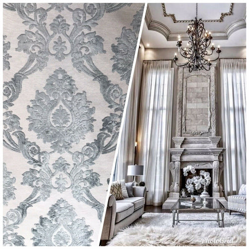 NEW Designer Velvet Chenille Burnout Damask Upholstery Fabric - Grey BTY