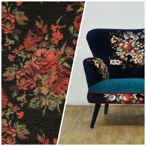 NEW Miss Juniper Designer Floral Needlepoint Inspired Upholstery Fabric- Black & Roses