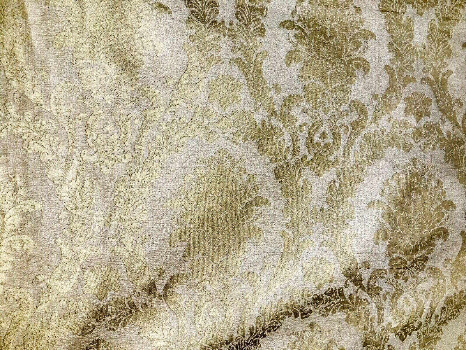 Designer Velvet Chenille Burnout Damask Upholstery Fabric - Cream & Gold