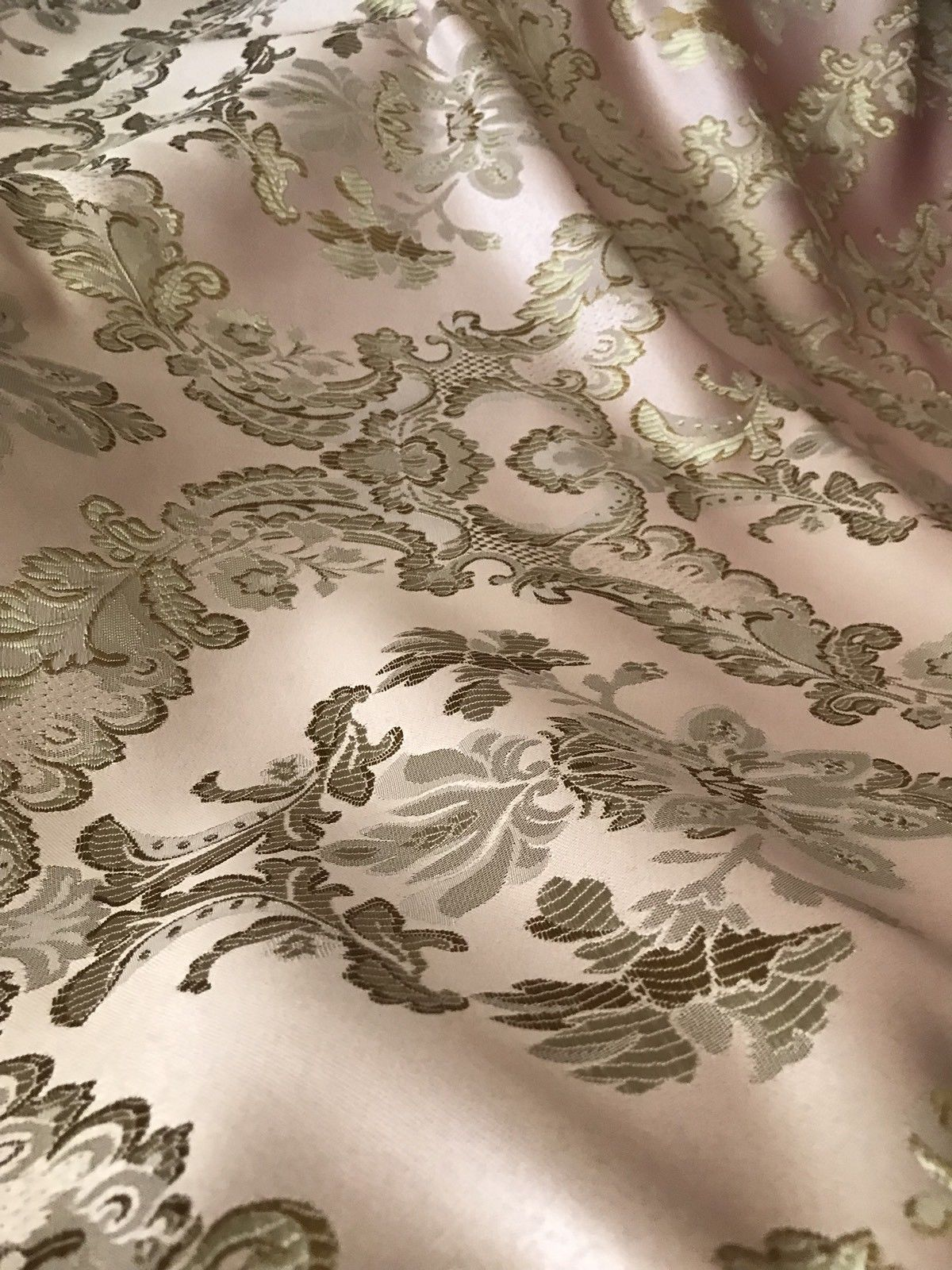 "SWATCH 110"" Wide- Designer Brocade Jacquard Fabric- Antique Pink Gold- Damask - Fancy Styles Fabric Boutique"