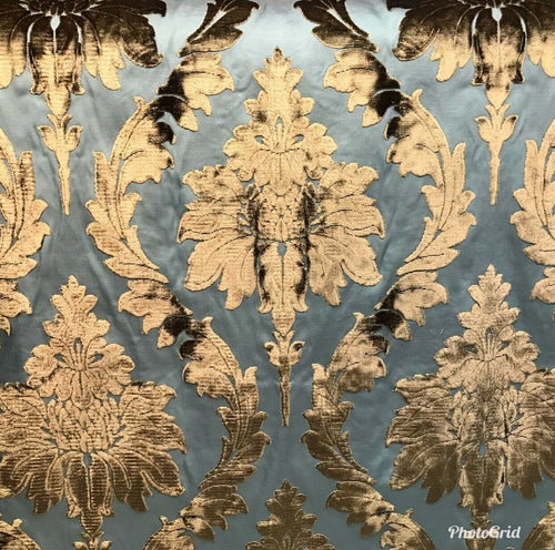 NEW Designer Italian Burnout Damask Chenille Blue Bronze Fabric Upholstery