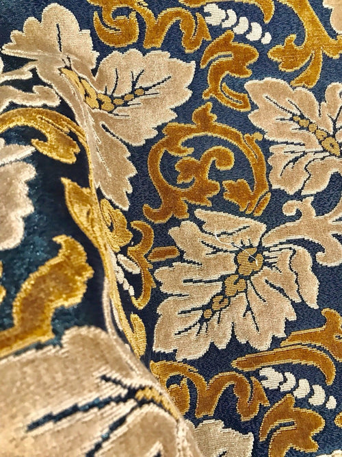 NEW Novelty Made In Italy Burnout Chenille Velvet Fabric - Leaves- Upholstery - Fancy Styles Fabric Boutique