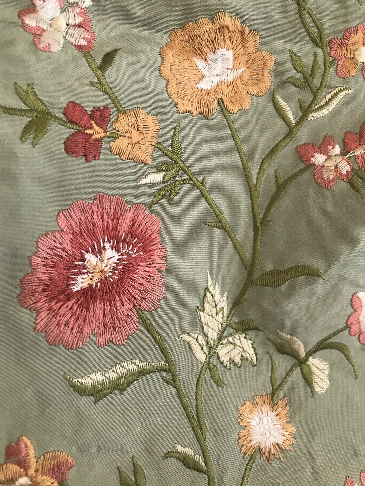NEW SALE! Designer 100% Silk Taffeta Dupioni Embroidery Fabric- Floral Mineral Green BTY