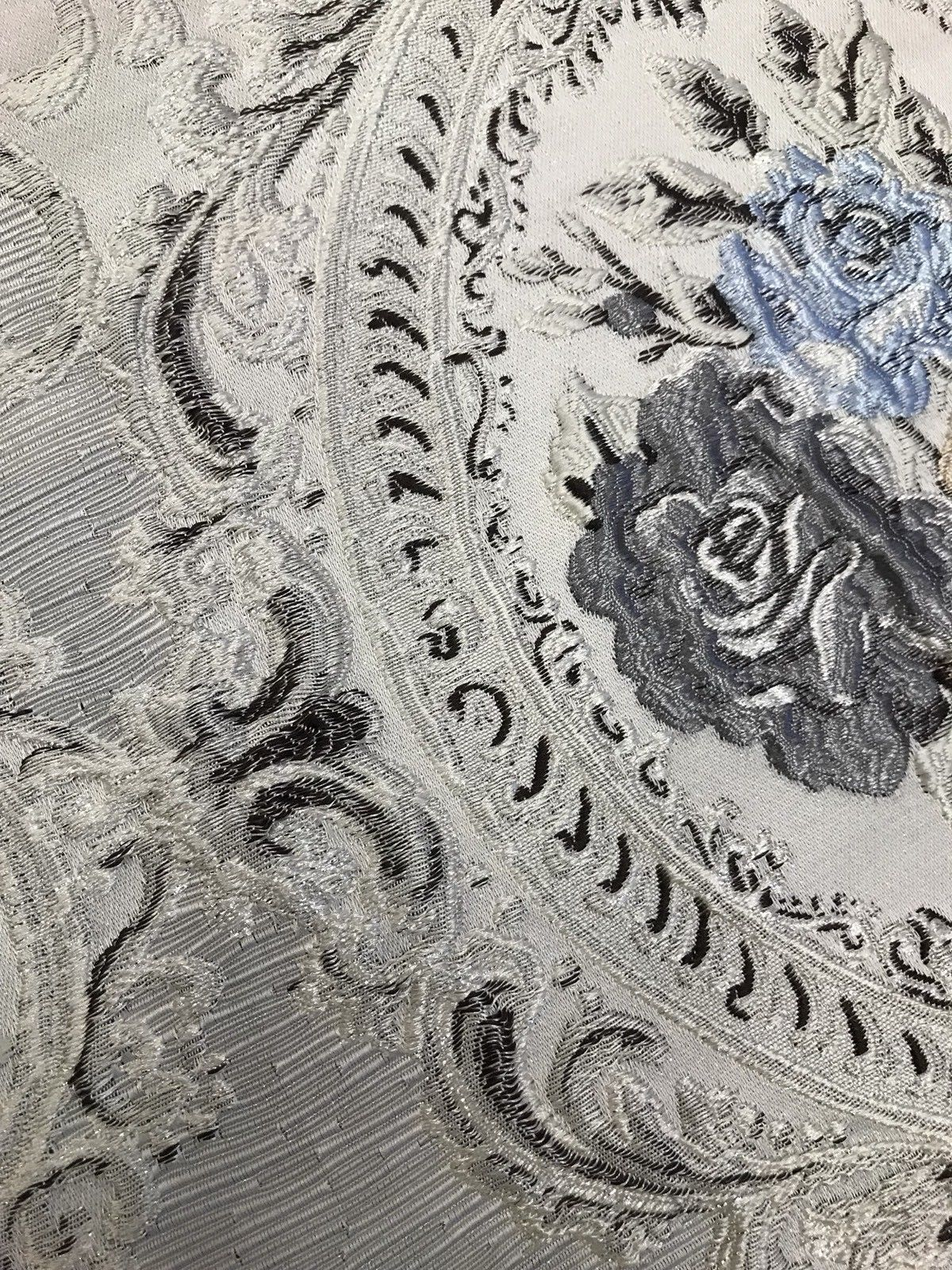 Designer Brocade Satin Fabric- Antique White & Blue Roses - Upholstery Damask - Fancy Styles Fabric Pierre Frey Lee Jofa