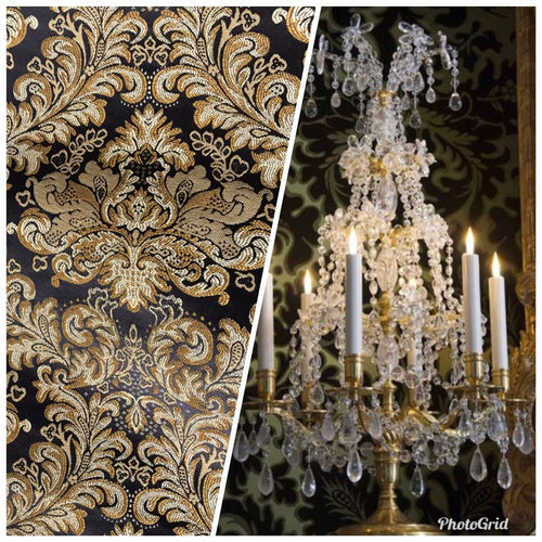 Neoclassical Brocade Satin Fabric Black Gold Upholstery Damask LLPBK0003