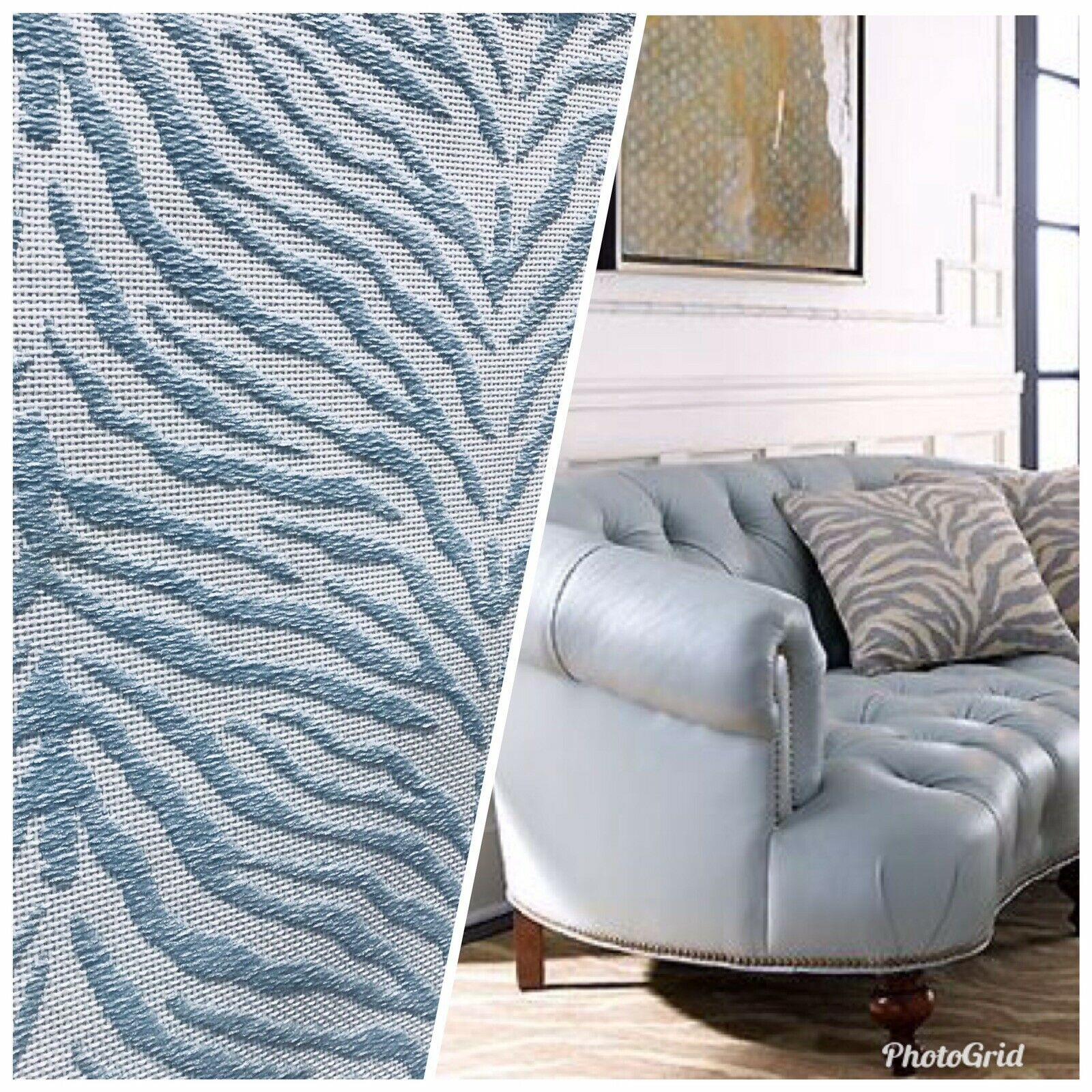 NEW Designer Upholstery Heavyweight Burnout Zebra Chenille Fabric- Blue White BTY