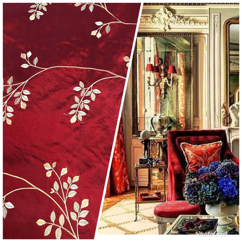 NEW! SALE! 100% Silk Taffeta Embroidered Floral Motif Fabric - Dark Red - Fancy Styles Fabric Boutique