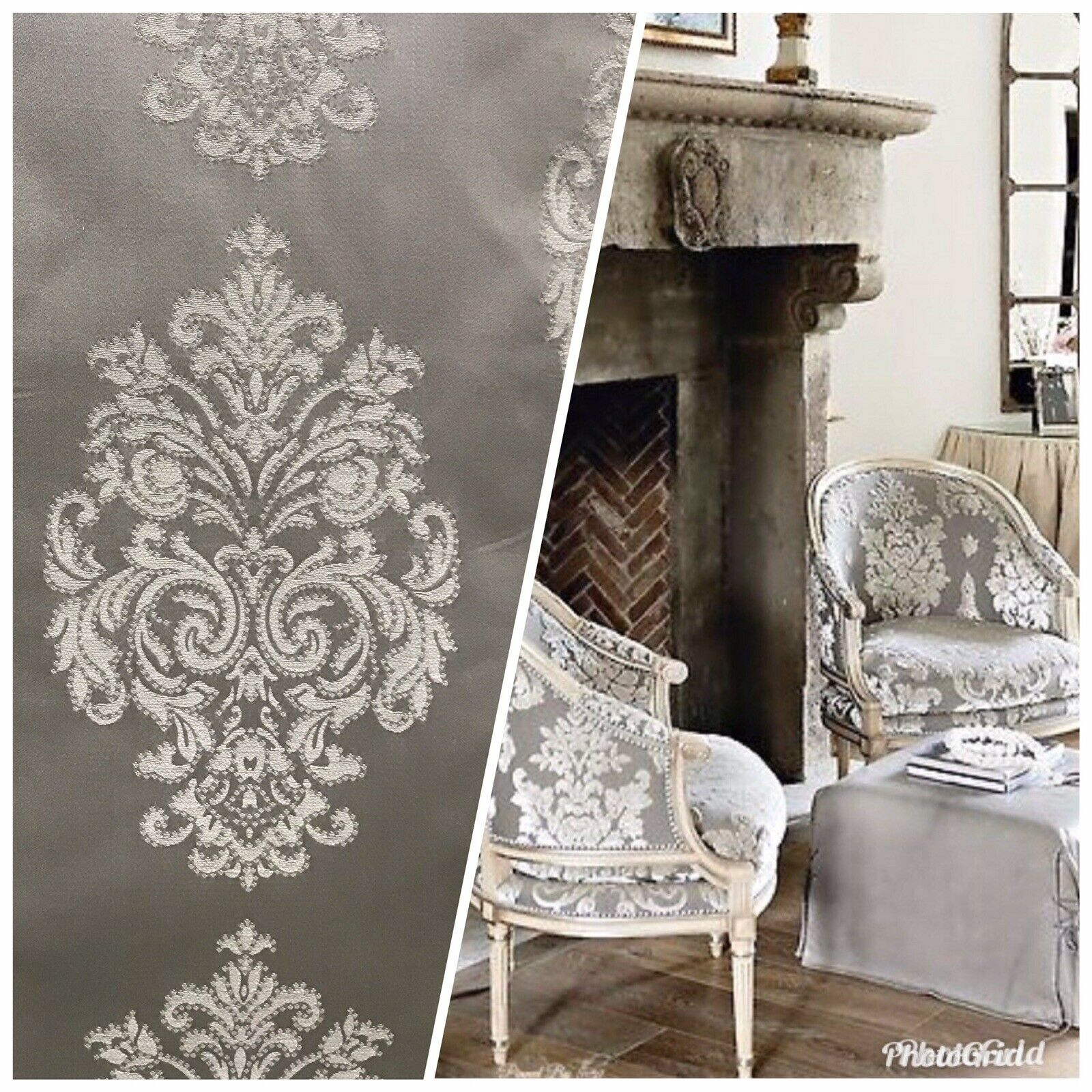 NEW Designer Satin Damask Brocade Upholstery Drapery Fabric - Gray BTY