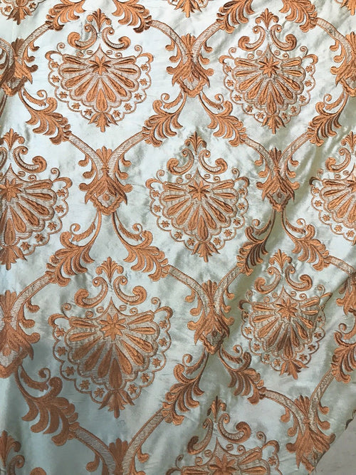 NEW 100% Silk Taffeta Fabric Aqua Light Teal With Bronze Embroidery - Fancy Styles Fabric Pierre Frey Lee Jofa Brunschwig & Fils