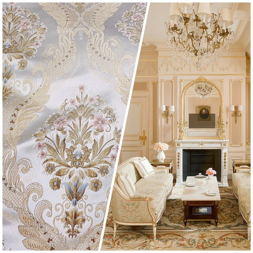 NEW Queen Antionette Novelty Ritz Neoclassical Brocade Damask Floral Satin Fabric - Ivory