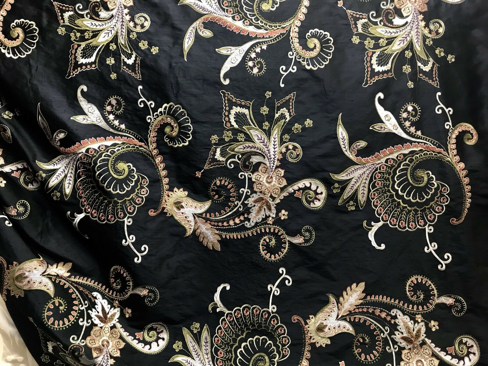 SWATCH Designer 100% Silk Taffeta Floral Embroidered Fabric - Black