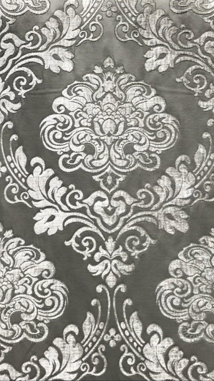 SWATCH Designer Satin Burnout Chenille Velvet Fabric - Gray Upholstery Damask - Fancy Styles Fabric Boutique