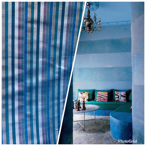 NEW 100% Silk Taffeta Fabric Blue Multicolor Stripes - Fancy Styles Fabric Pierre Frey Lee Jofa Brunschwig & Fils