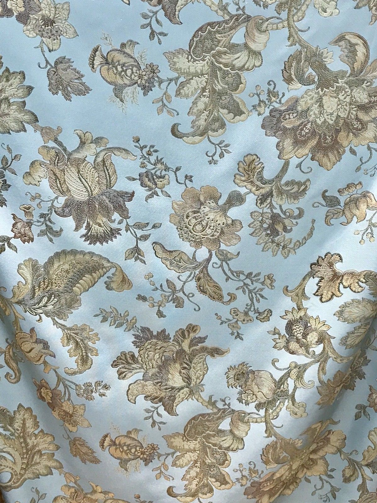 SWATCH Brocade Satin Fabric- Antique Aqua Blue - Embroidery Damask - Fancy Styles Fabric Boutique