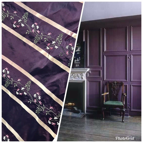 "SALE! Designer 100% Silk Taffeta Dupioni Embroidery Fabric Purple 55"" Wide"