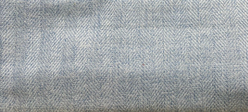 NEW Designer Upholstery Herringbone Chevron Pattern Tweed Fabric - Pale Blue