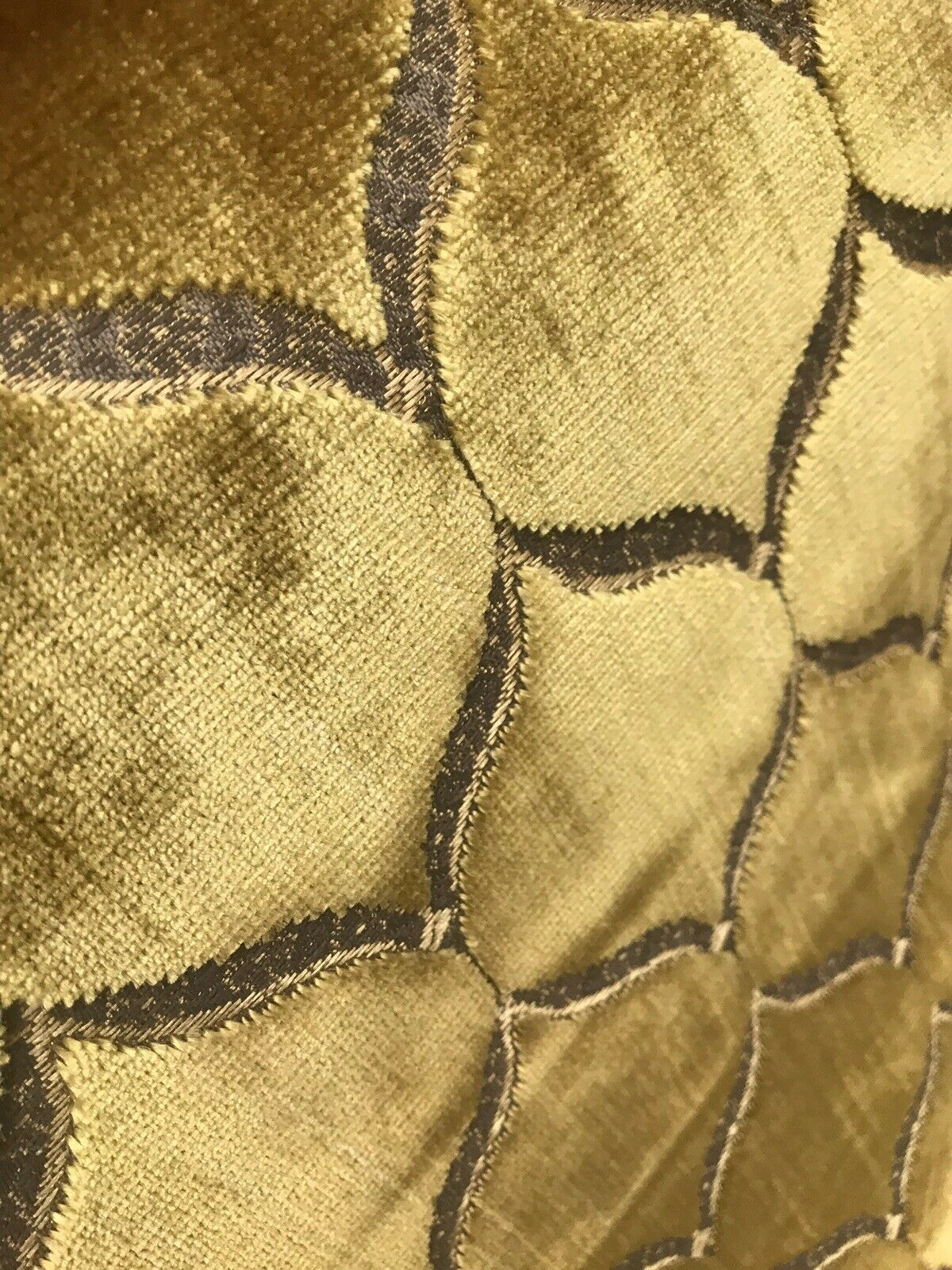 NEW Novelty Designer Italian Burnout Geometric Velvet Fabric - Upholstery- BTY Gold