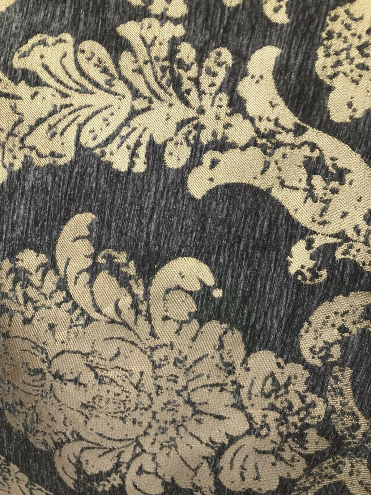 Designer Velvet Chenille Burnout Damask Upholstery Fabric - Gray & Gold